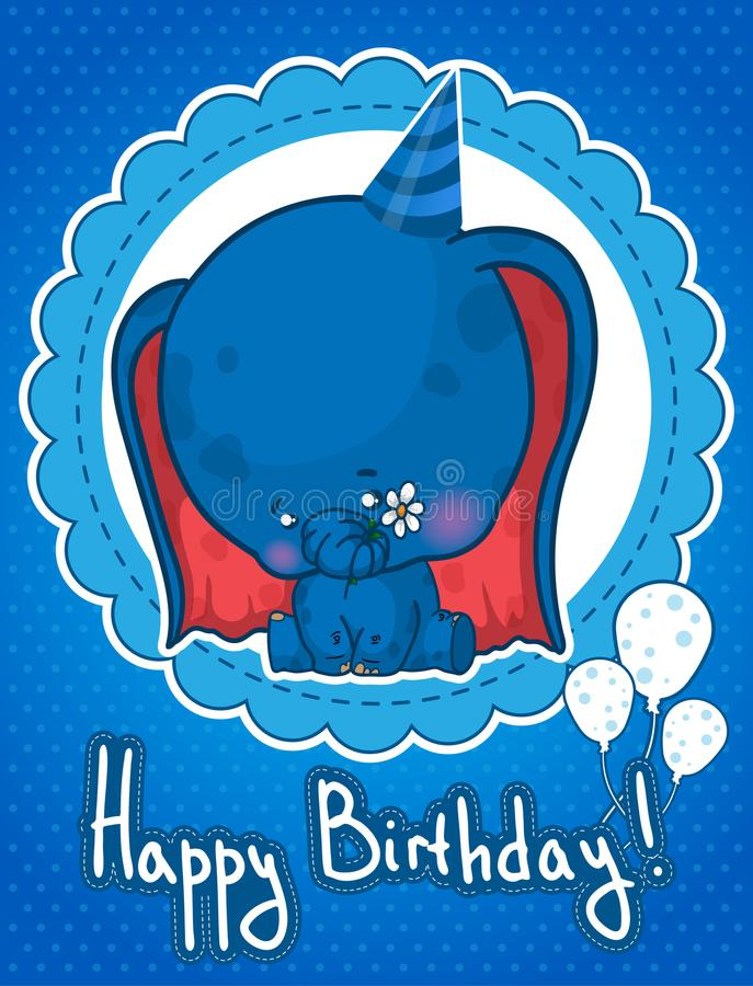 Happy birthday greeting card with cute cartoon elephant royalty free illustration