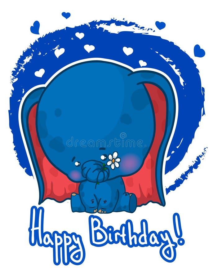 Happy birthday greeting card with cute cartoon elephant. vector illustration