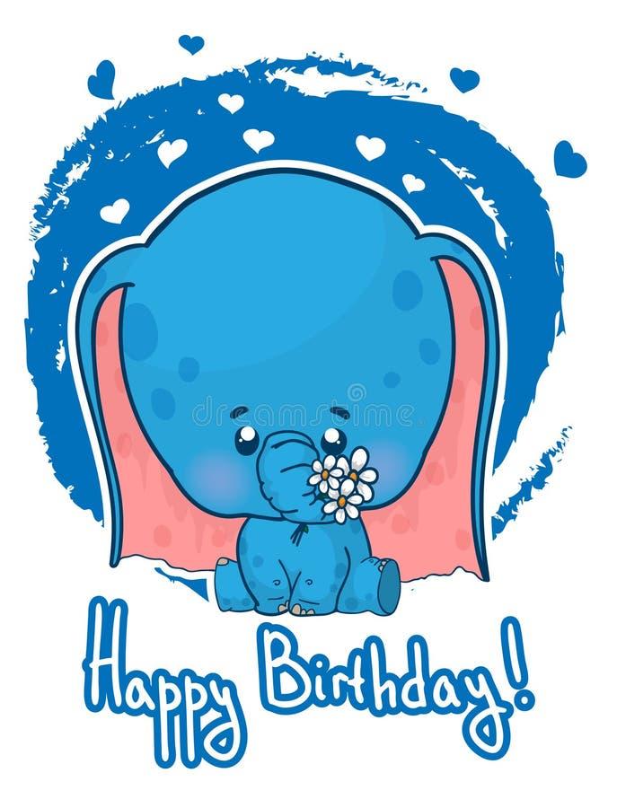 Happy birthday greeting card with cute cartoon elephant. stock illustration