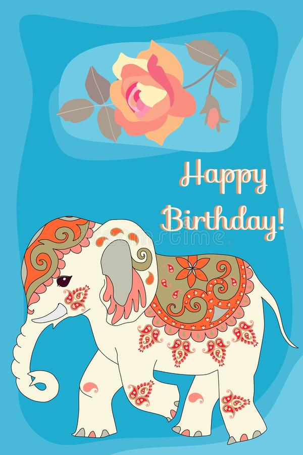 Happy birthday greeting card with cute cartoon indian elephant and falling rose flower on sunny blue background.  vector illustration