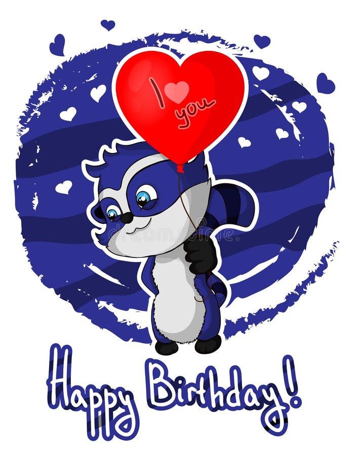 Happy birthday greeting card with cute cartoon raccoon. royalty free illustration