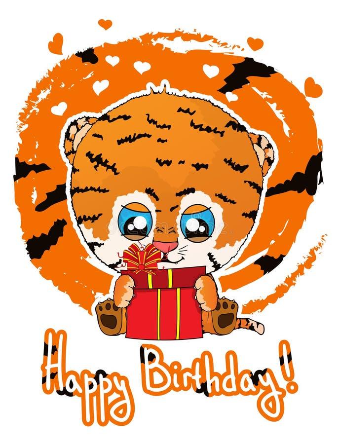 Happy birthday greeting card with cute cartoon tiger cub. vector illustration