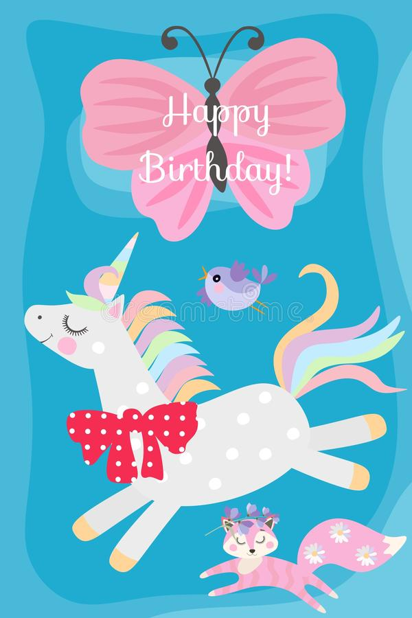 Happy birthday greeting card with cute cartoon unicorn, little fox and flying bird on sunny blue background.  royalty free illustration