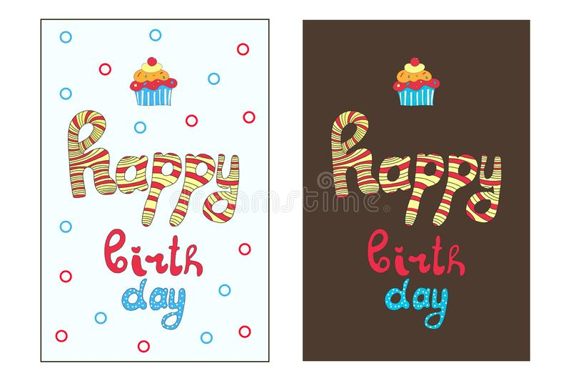 Happy Birthday greeting card. Cute design. stock illustration
