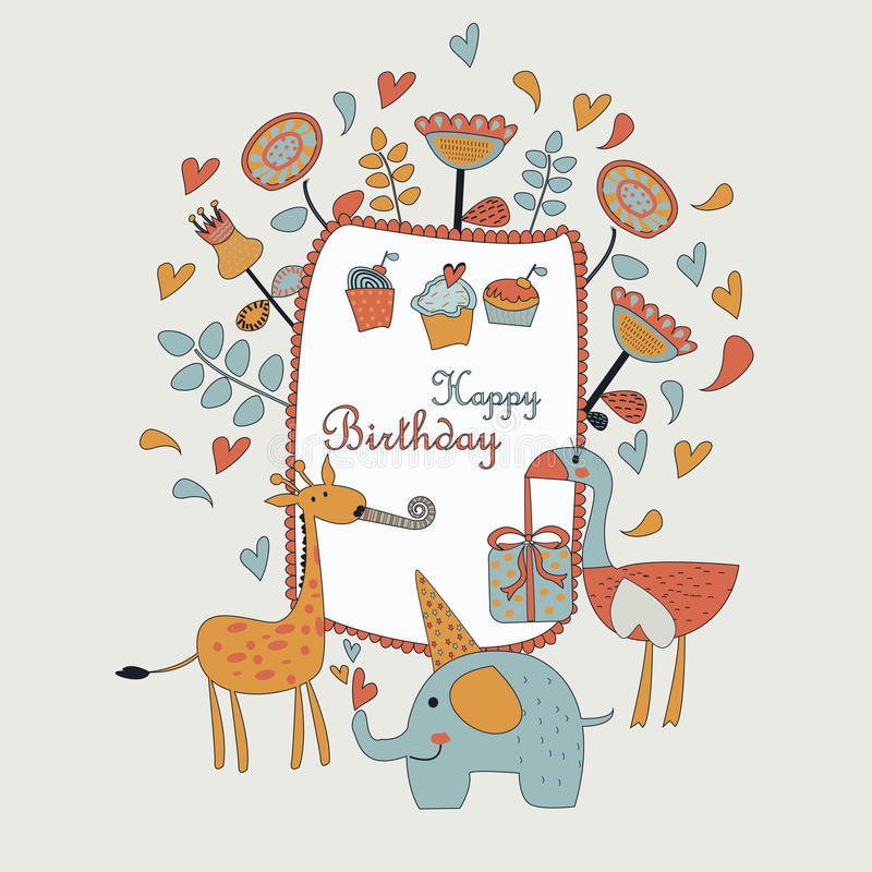 Happy birthday greeting card. With cute elephant, ostriche, giraffe, flowers, cupcakes and hearts in cartoon style vector illustration