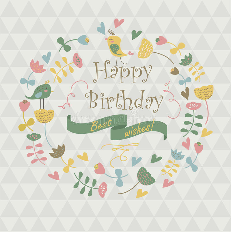 Happy birthday greeting card. With cute flowers, birds and hearts in cartoon style vector illustration
