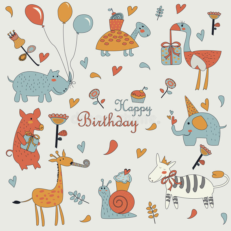Happy birthday greeting card. With cute giraffe, snail, pig, elephant, zebra, ostrich, turtle and hippo with balloons in cartoon style. Birthday party with royalty free illustration