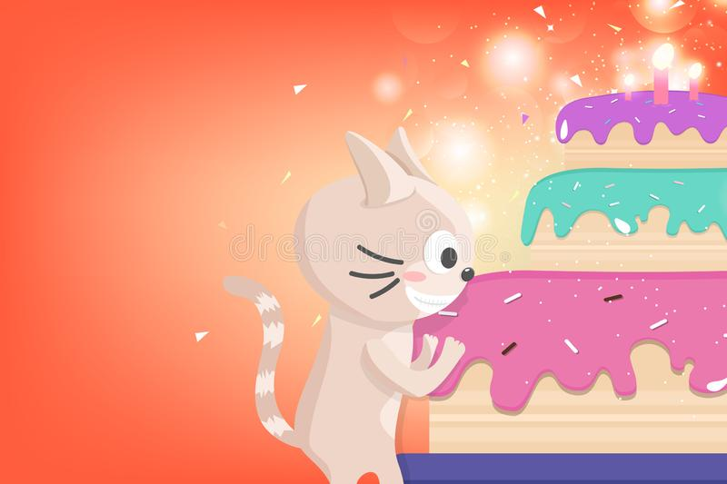 Happy Birthday, greeting card, cute kitten celebration party firework, confetti and star glitter falling, adorable cat cartoon royalty free illustration