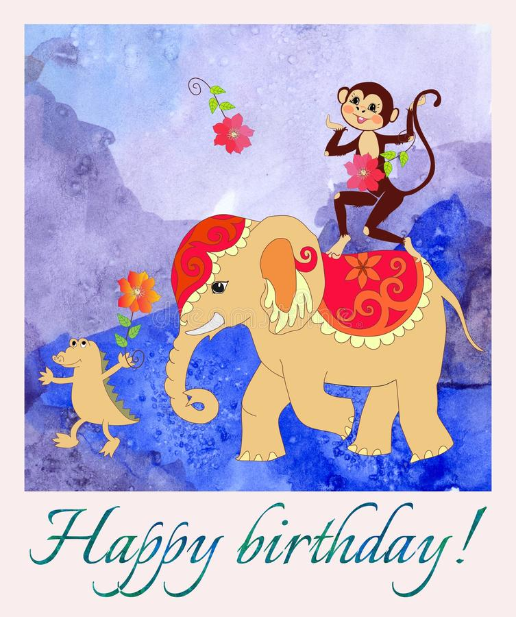 Happy birthday. Greeting card with cute monkey, elephant and small crocodile on watercolor background. vector illustration