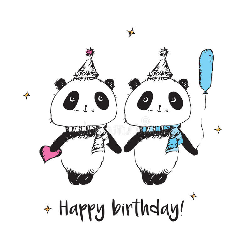 Happy birthday. Greeting card with cute pandas. Hand drawn pandas for your design. Doodles, sketch. Vector stock illustration
