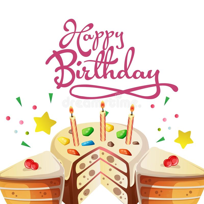 Happy birthday greeting card with cute tart. Additional file in eps 10 royalty free illustration