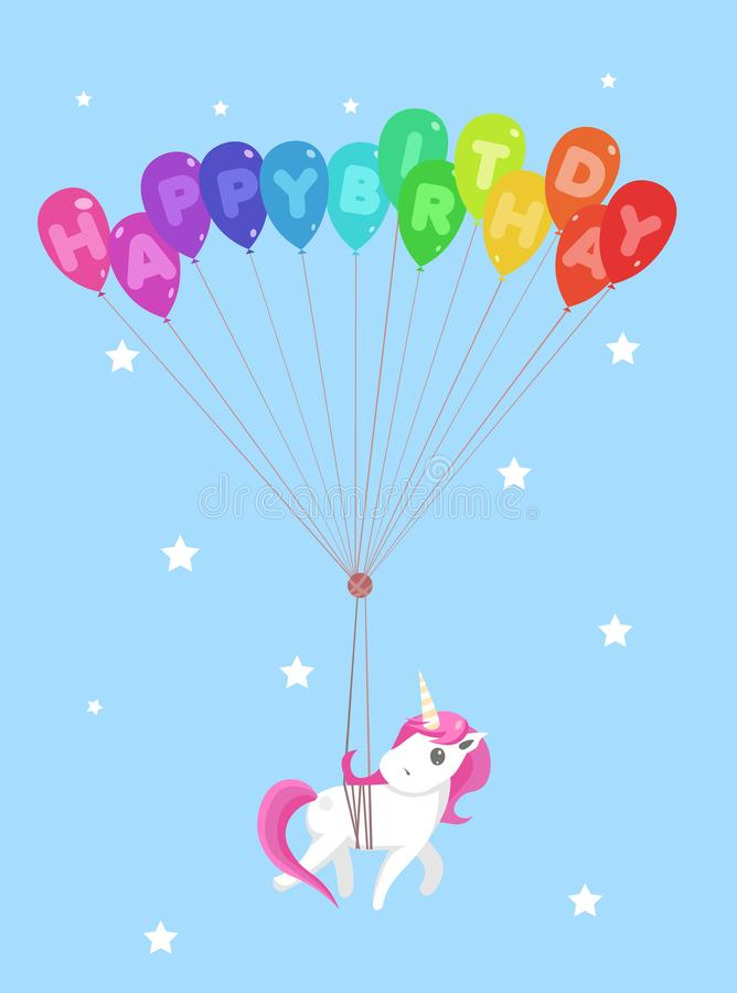 Happy birthday greeting card with cute unicorn and balloons. Vector illustration stock illustration