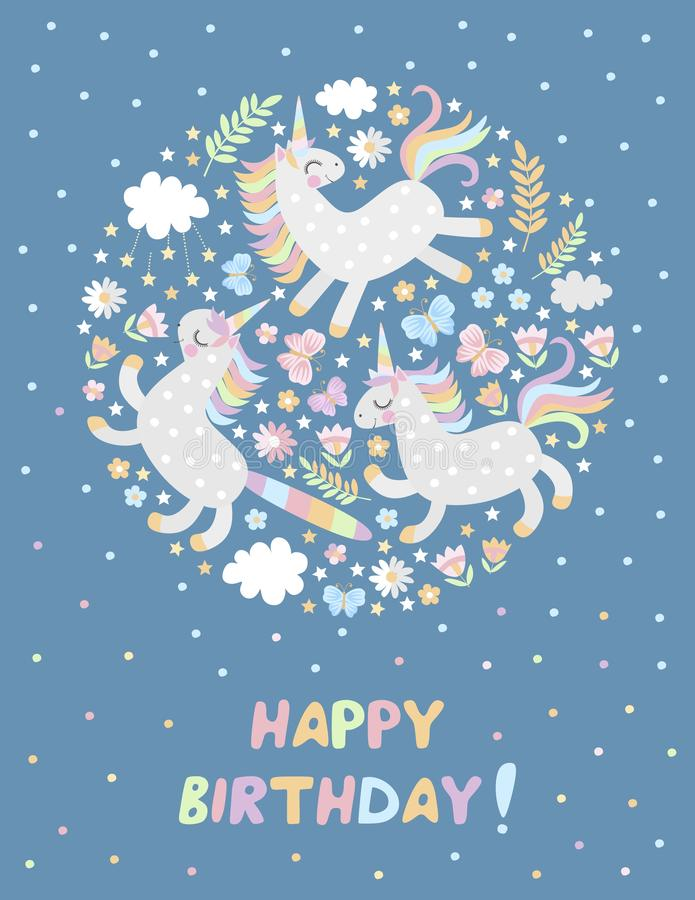 Happy birthday greeting card with cute unicorns, butterflies, flowers, clouds and stars. Magic picture. Vector illustration.  royalty free illustration