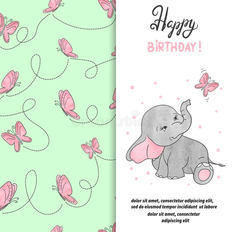 Happy Birthday Greeting Card Design With Cute Elephant And Butterfly