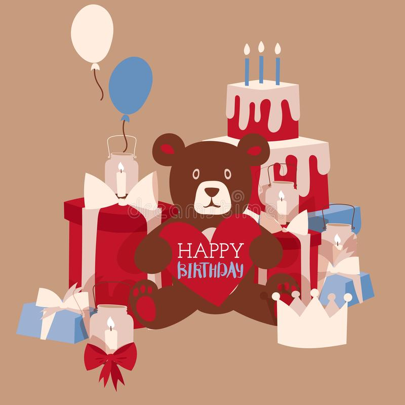 Happy birthday greeting card design, vector illustration. Cute teddy bear toy holding heart with space for text vector illustration