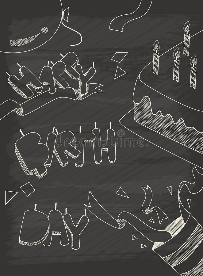 Happy Birthday greeting card design in vintage style with chalkboard. Eps10 vector format vector illustration