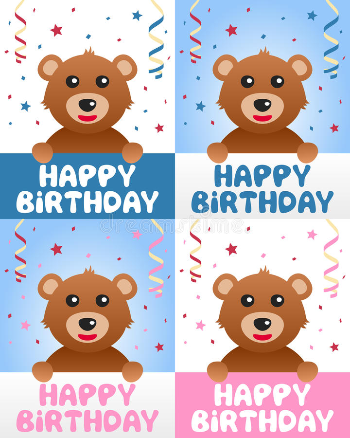 Download Happy Birthday Teddy Bear stock vector. Image of greetings - 29869496
