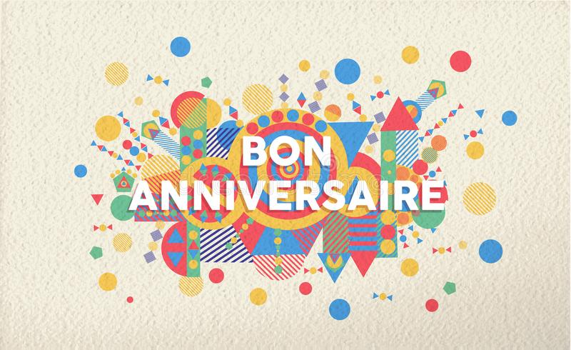 Happy birthday greeting card in french language stock vector download happy birthday greeting card in french language stock vector illustration of shape decoration stopboris Choice Image