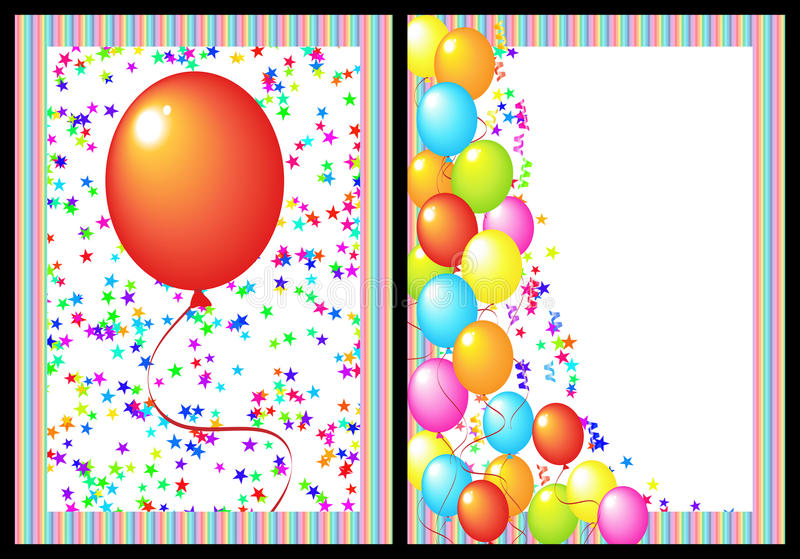 Happy birthday greeting card front and back. Happy birthday greeting card with balloon and star. includes the front and back of the card. black background for stock illustration