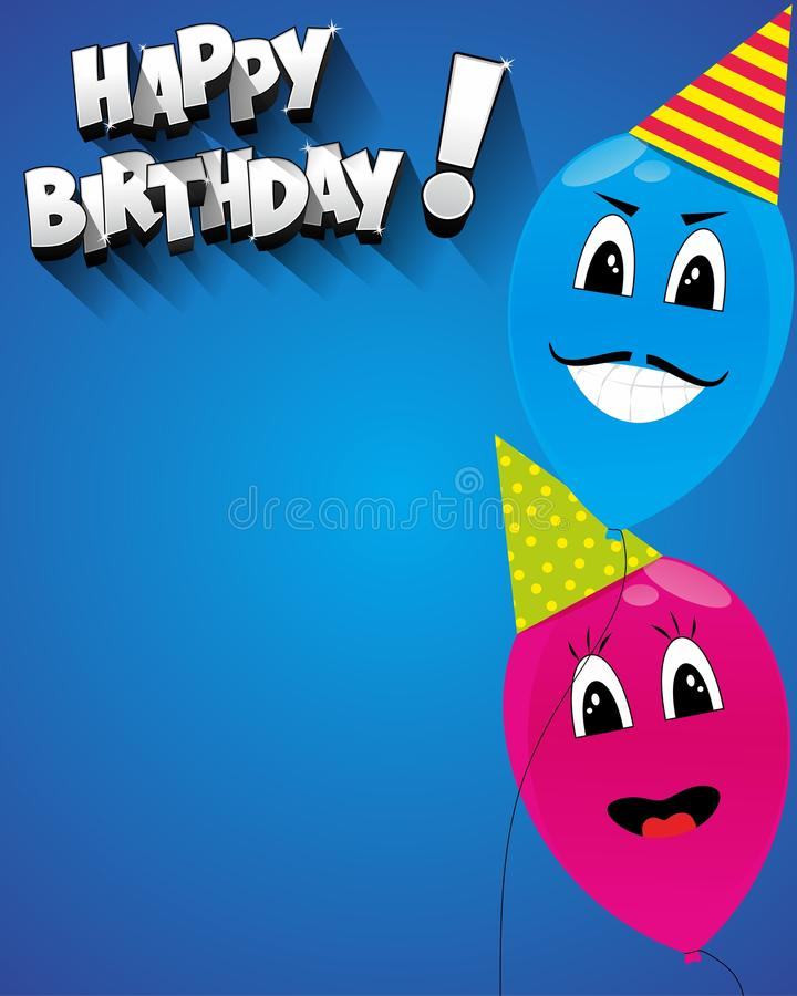 Happy birthday greeting card with funny balloons vector illustration