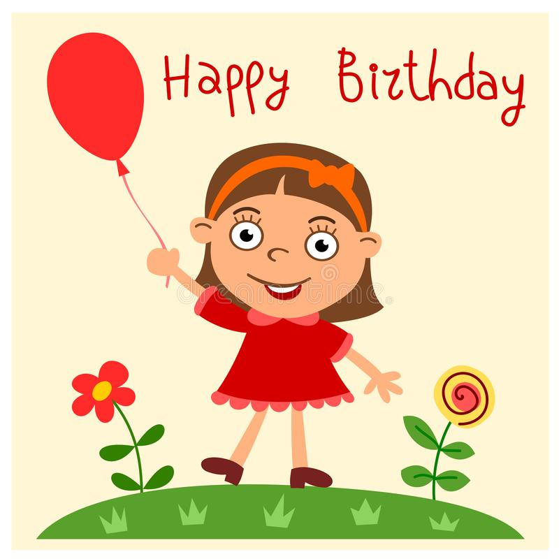 Happy birthday - greeting card with funny girl. With red baloon in cartoon style royalty free illustration
