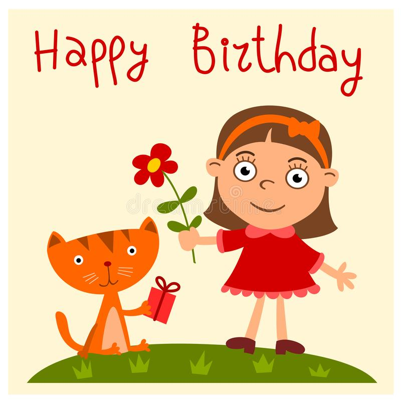 Happy birthday - greeting card with funny girl and kitten. With gift and flower in cartoon style royalty free illustration