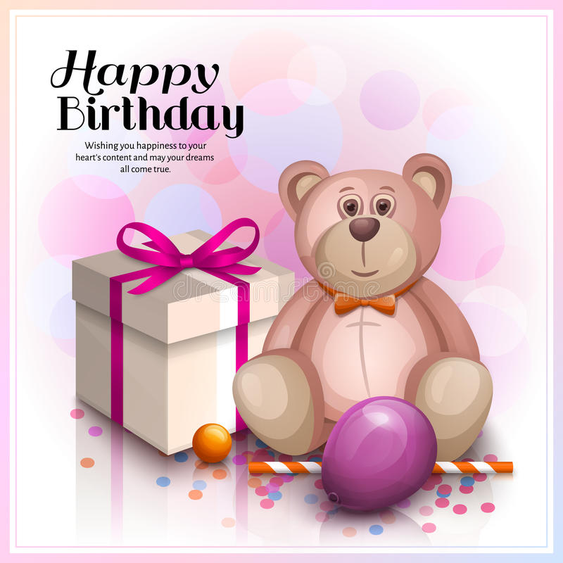Happy Birthday Greeting Card Gift Box With Pink Ribbon Cute Pink – Cute Birthday Greeting Cards