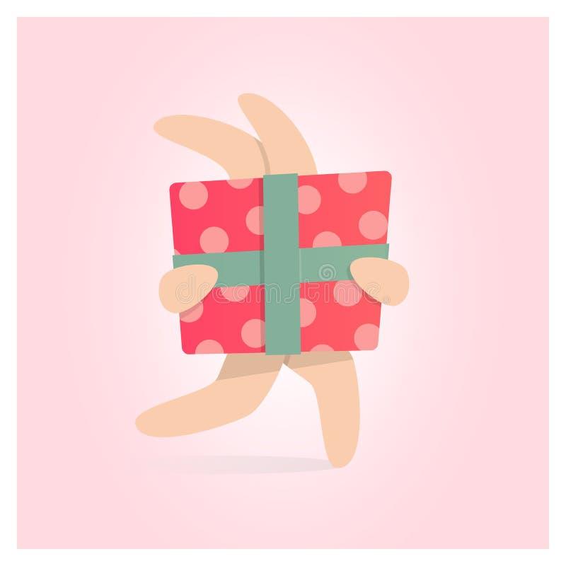 Happy birthday greeting card. Gift box in rabbit hand. Vector illustration royalty free illustration