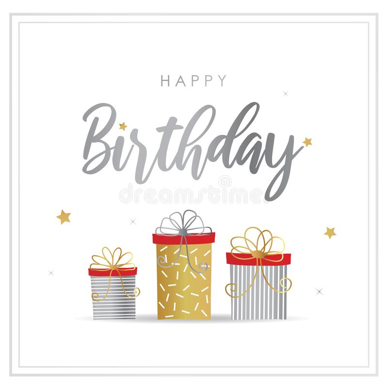 Happy Birthday Greeting Card with Gift Box Vector. Design stock illustration