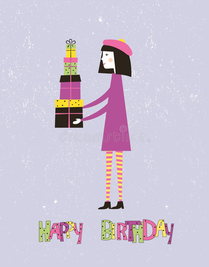 Happy birthday greeting card with a girl. Vector. Happy birthday greeting card with a girl and gifts. Vector vector illustration