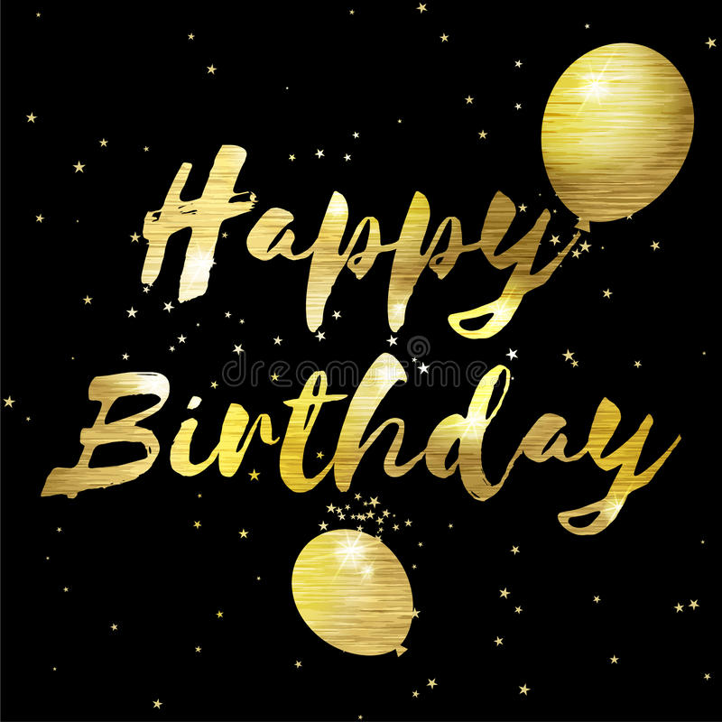 Happy birthday greeting card with golden stylish lettering.  stock illustration