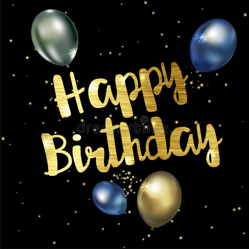Happy birthday greeting card with golden stylish lettering. Vector illustration stock illustration