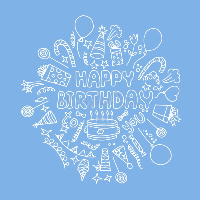 Happy Birthday greeting card. Vector illustration. Happy Birthday greeting card. Hand drawn inscription, cake, balloons, gifts and other symbols royalty free illustration