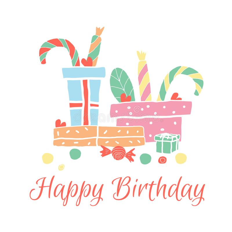 Happy Birthday greeting card in hand drawn style. vector illustration