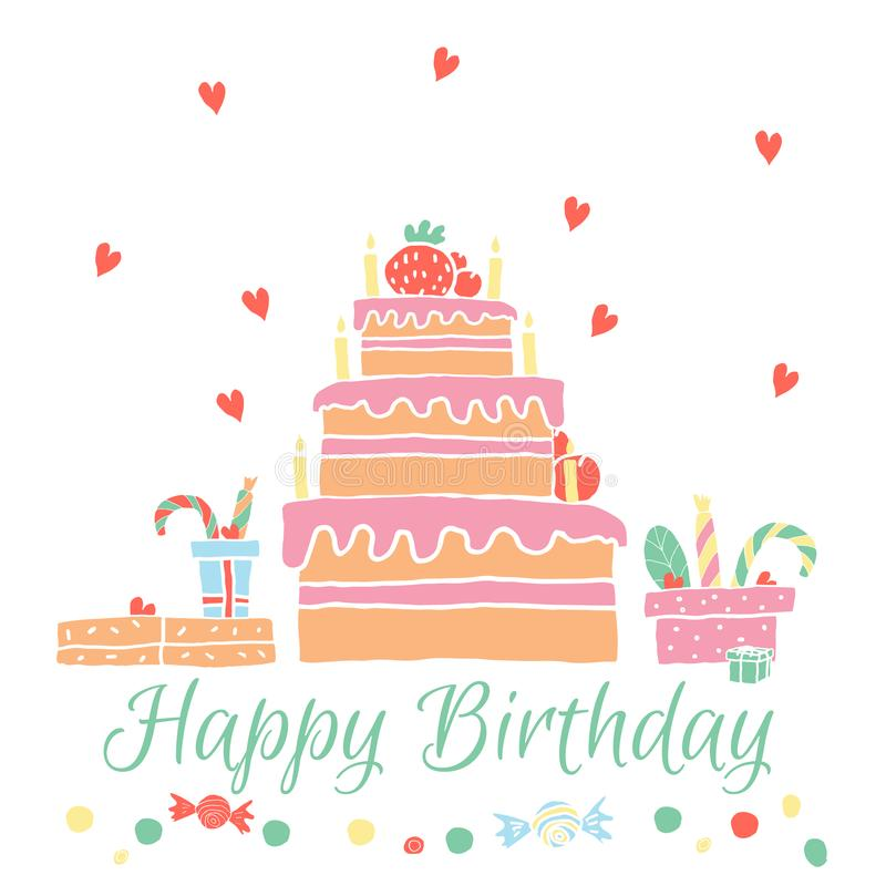 Happy Birthday greeting card in hand drawn style. stock illustration