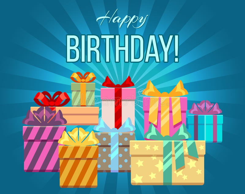 Happy birthday greeting card with a heap of gift boxes. Banner with heap gift box, vector illustration vector illustration