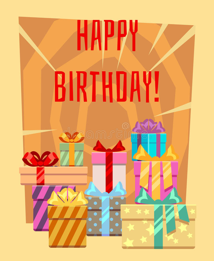 Happy birthday greeting card with a heap of gift boxes stock illustration