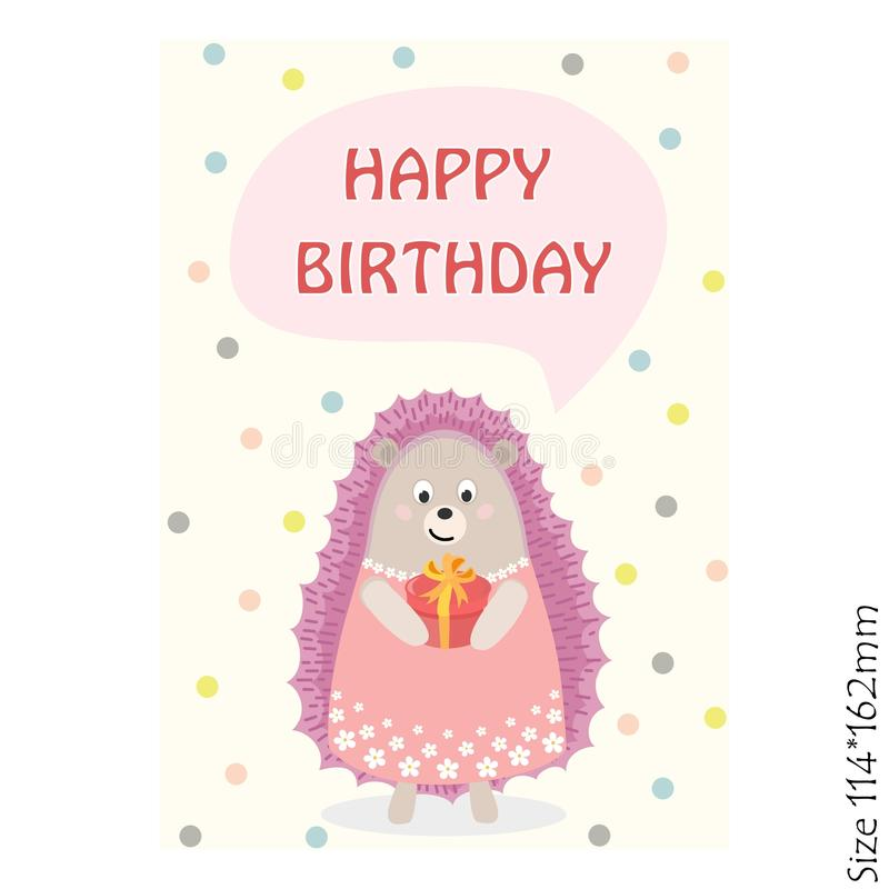 Happy birthday greeting card with a hedgehog on a yellow background. vector illustration