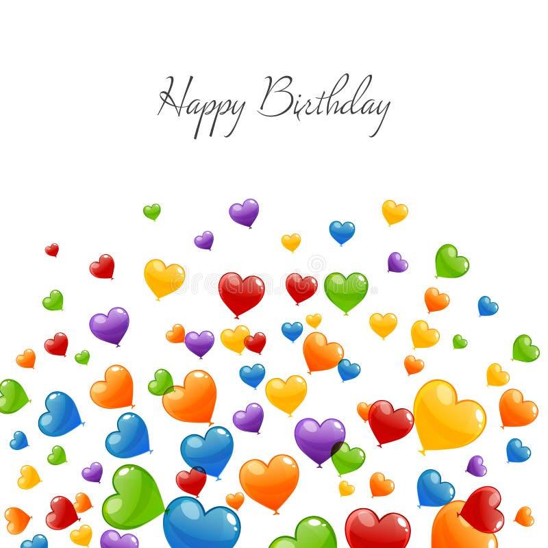 Happy Birthday Greeting Card. Illustration of a Happy Birthday Greeting Card with Colorful Heart Balloons vector illustration
