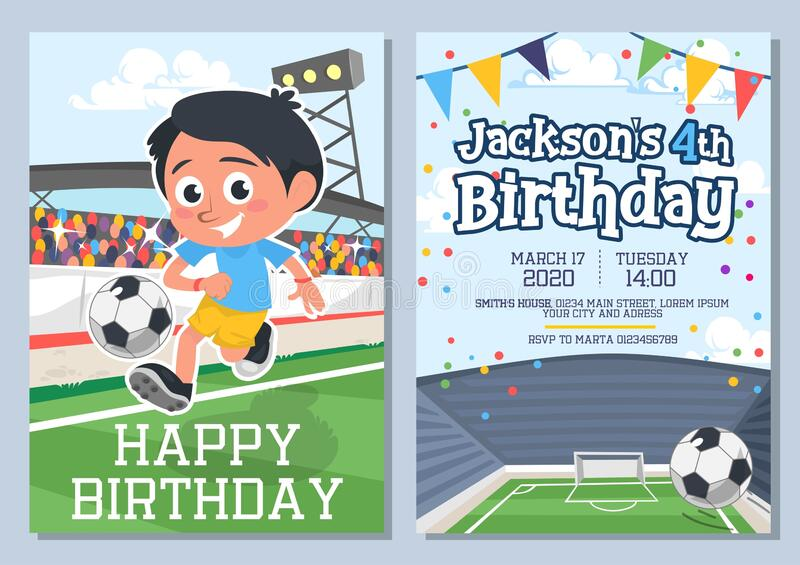 Happy birthday greeting card and invitation set. Vector illustration. Template decorated with football player kicking ball cartoon design. Time and place of vector illustration
