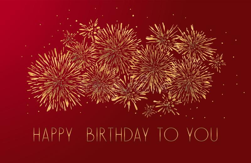 Happy Birthday greeting card with lettering design. Golden glitter fireworks red background. stock illustration