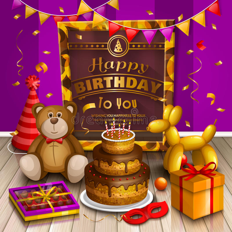 Happy birthday greeting card. Lots of presents and toys. Party hats, teddy bear, cake, dog balloon, box of chocolates royalty free illustration