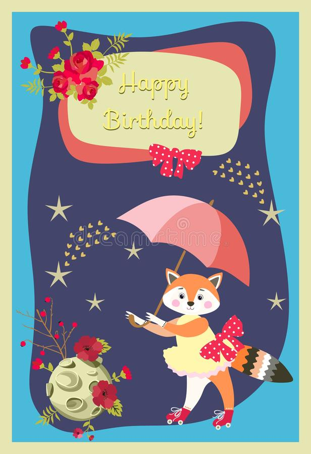 Happy birthday greeting card with lovely little fox, umbrella, moon, stars, comets and flowers on dark blue background. Vector vector illustration