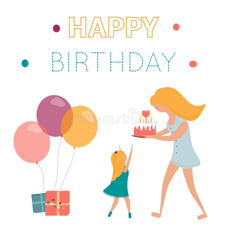 Happy birthday greeting card with mom, doughter, cake and gifts royalty free illustration