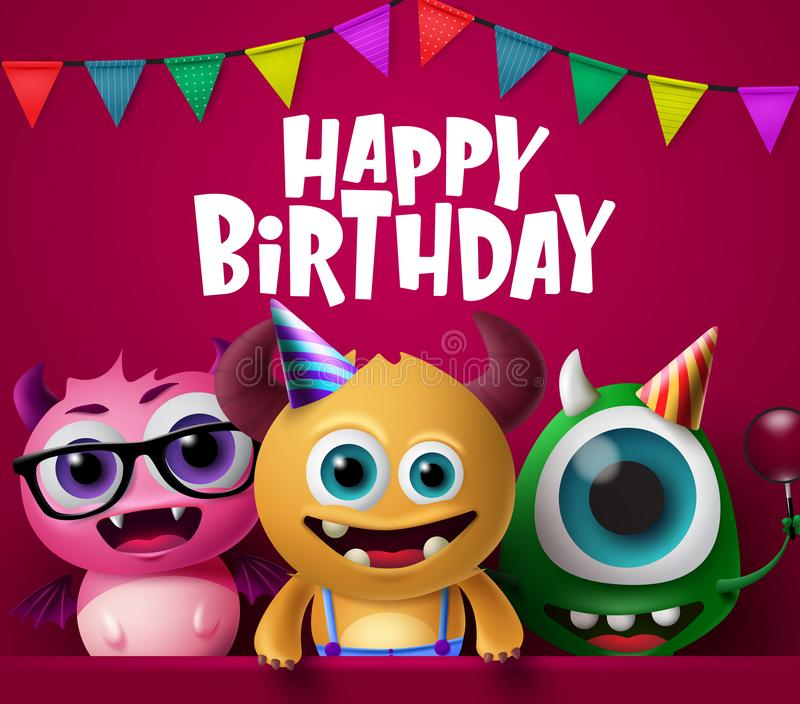 Happy birthday greeting card and monster characters vector design. vector illustration