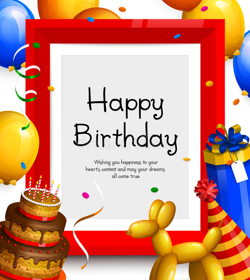 Happy birthday greeting card. Party balloons, red frame for your text, cake, gift box, confetti and ribbons. Vector. Happy birthday greeting card. Party vector illustration