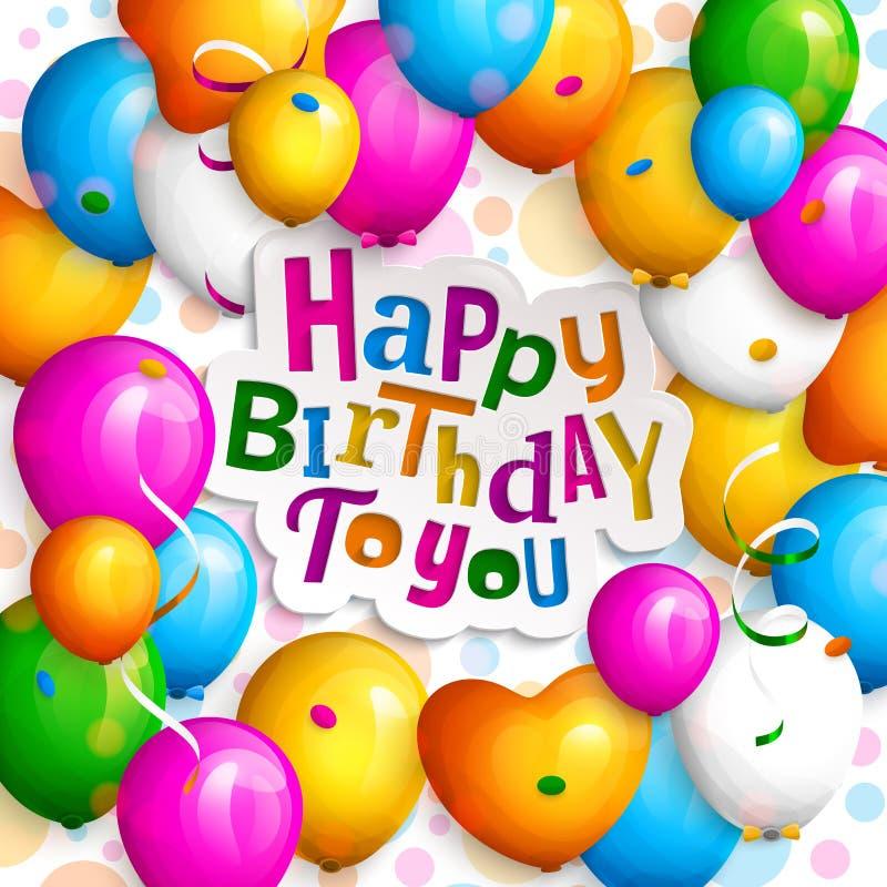 Happy birthday greeting card. stock illustration