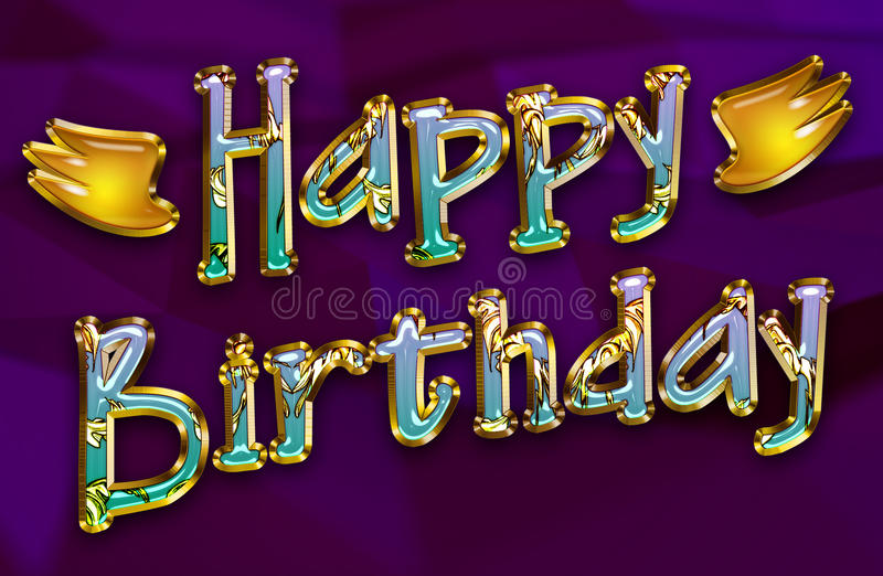 Happy birthday greeting card for a party. Happy birthday greeting card on deep purple background with wings On the sides royalty free illustration