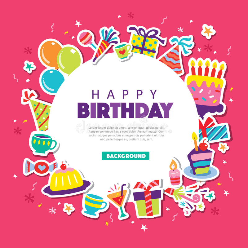 Happy Birthday. Greeting card with party elements stock illustration
