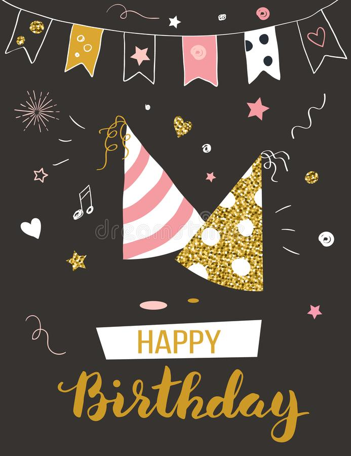 Happy birthday greeting card. With party hats, invitation template, illustration stock illustration
